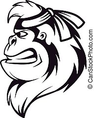Gorilla ninja head logo in black and white, vector ...
