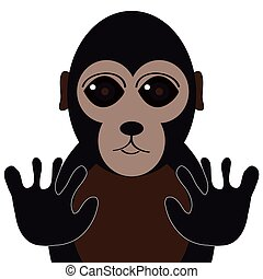 Gorilla on white background