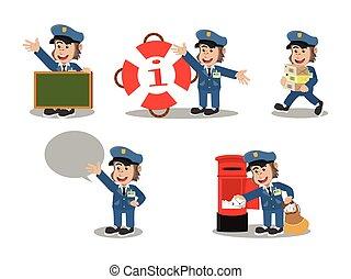 gorilla postman cartoon set