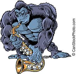 gorilla, sa, spotprent, gespierd, spelend