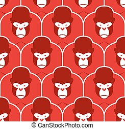 Gorilla seamless pattern. Flock of Angry red big monkey. Background of Group of animals. Beasts vector illustration