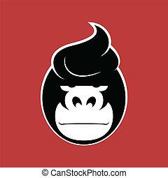 Gorilla - Serious face gorilla with a stylish hairdo.