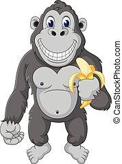 gorilla, spotprent, gekke