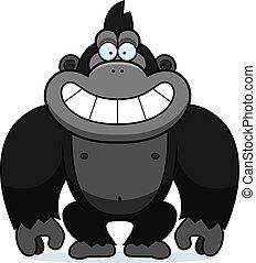 gorilla, spotprent, grijns