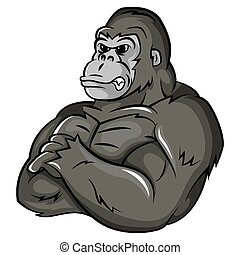 gorilla, stark, maskot