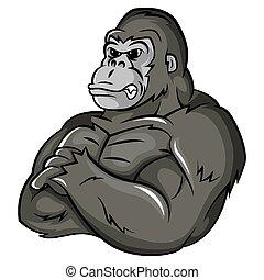 gorilla, sterke, mascotte