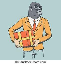 gorilla, suit., umano, illustrazione, africano
