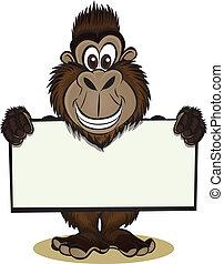 gorilla, vasthouden, meldingsbord