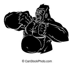 gorilla, vector, illustratie