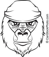 gorilla, weißes, schwarz, zeichnung, head.