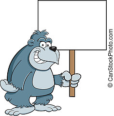 Gorilla with a sign