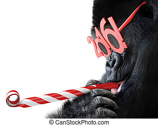Gorilla with horn and 2016 glasses - Funny gorilla with...