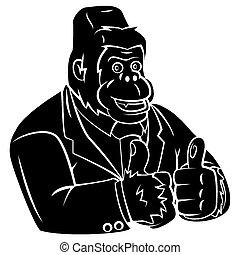 gorilla, zakelijk, tatoeëren