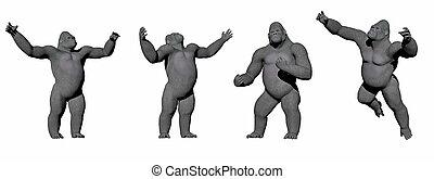 gorillaen, -, op, render, 3d