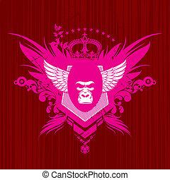 gorillakopf, vektor, emblem, ritterwappen