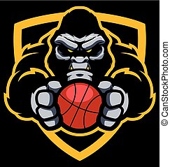 gorille, basket-ball, mascotte