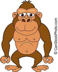 gorille, dessin animé, mignon