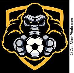 gorille, football football, mascotte
