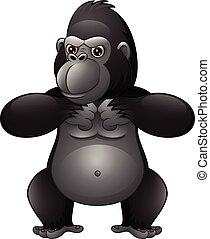 gorille, fort, dessin animé