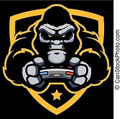 gorille, gamer, mascotte