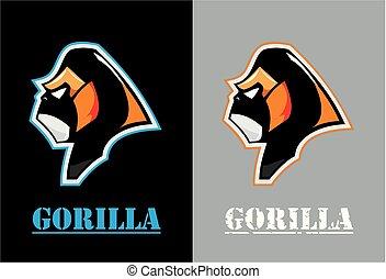 gorille, gorilla., head., face.