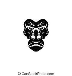 gorille, logo, mascotte, sport