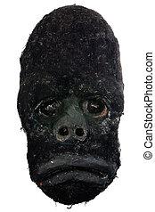 gorille, masque, découpé, bois, africaine