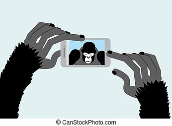 gorille, noir, photographs., smartphone., illustration, monkey., selfie, vecteur, animal