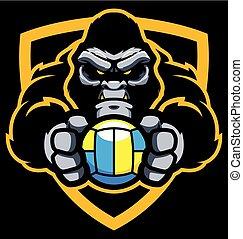 gorille, volley-ball, mascotte
