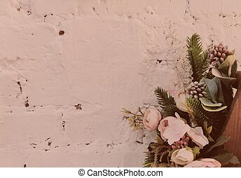 flower bouquet near white brick wall. gorizontal photo. white brick background with pink tinting