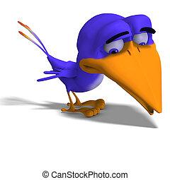 gorjeo, caricatura, pájaro