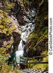 Gorner Gorge with tourist path and river below