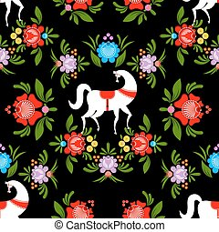 Gorodets painting Black horse and floral seamless pattern. Russian national folk craft ornament. Traditional decoration texture painting in Russia. Flowers and leaves background. Retro ethnic decor