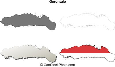 Gorontalo blank outline map set