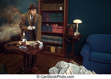 gorra, escena crimen, detective, café