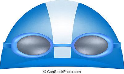 gorra, gafas de protección, natación