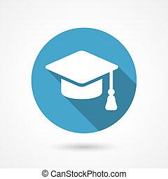 gorra, graduación, icono