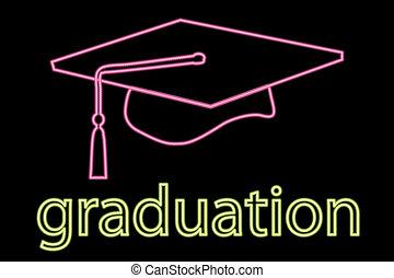 gorra, graduación, neón, símbolo