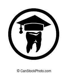 gorra, graduado, diente