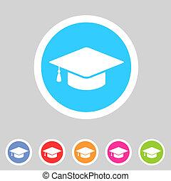 gorra plana, graduación, icono