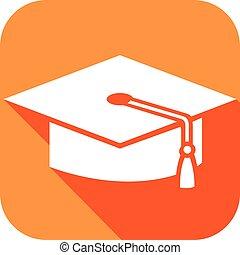 gorra plana, graduado, icono