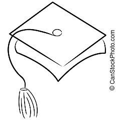 gorra, sombrero, o, graduación