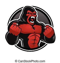 goryl, gniewny, gorilla., czerwony, cielna