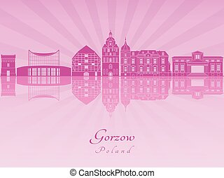 Gorzow skyline in purple radiant orchid