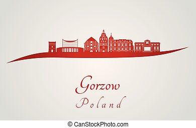 Gorzow skyline in red