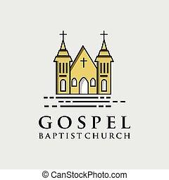 Gospel Baptist Church Logo Icon Design. Living Gospel Church Logo Design Vintage Hipter Retro Template. Religion Logo Design Vector Stock