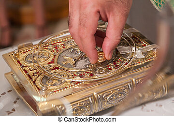 The Gospel Book, Evangelion, or Book of the Gospels during the wedding ceremony