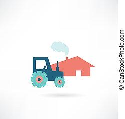 gospodarczy traktor, ikona