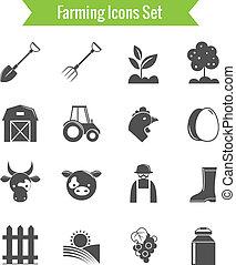 gospodarka, komplet, rolnictwo, żęcie, ikony