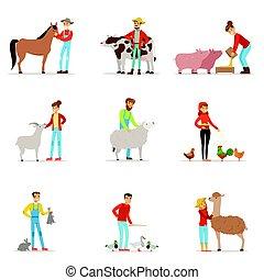 gospodarze, rozpłód, livestock., zagroda, zawód, pracownik, ludzie, zagroda, animals., komplet, od, barwny, rysunek, szczegółowy, wektor, ilustracje